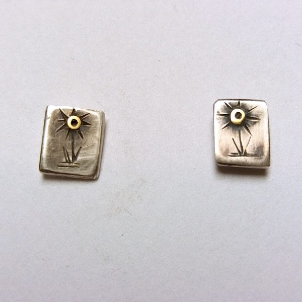 Silver stud earrings with Engraved sunflower design 18ct gold details