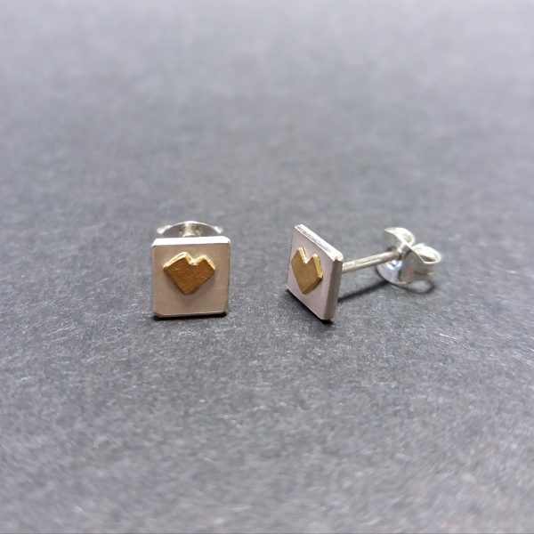 Silver gold heart stud earrings