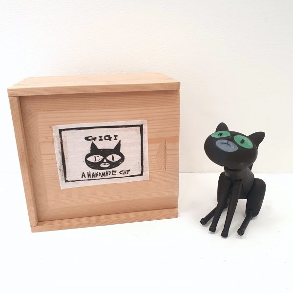 David Cousley Black Gigi Handmade Wooden Cat