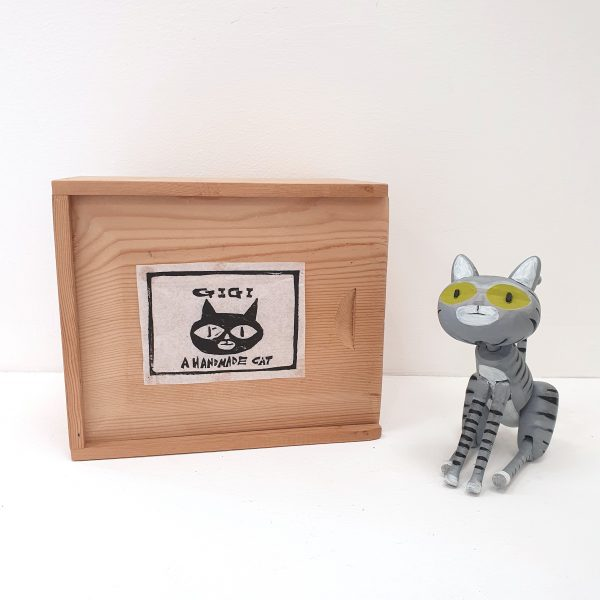 David Cousley tabby Gigi Handmade Wooden Cat
