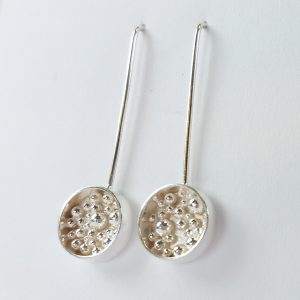 Silver earrings round with granulation detail