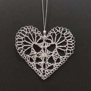 White crocheted heart