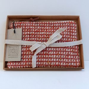Handwoven pouch in gift box with ribbon