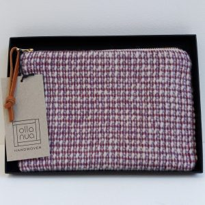 Handwoven pouch in purple with zip closure in black gift box