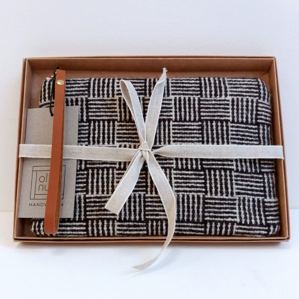 Clutch bag black and white pattern in gift box with ribbon