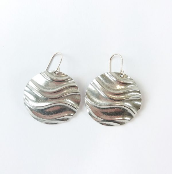 Round pewter earrings with wave texture