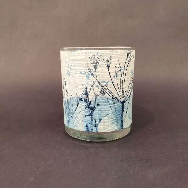Prussian blue solas linen tealight