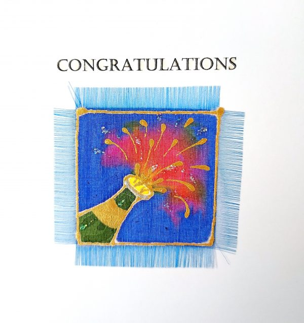 Detail of hand painted silk greetings card 'congratulations'