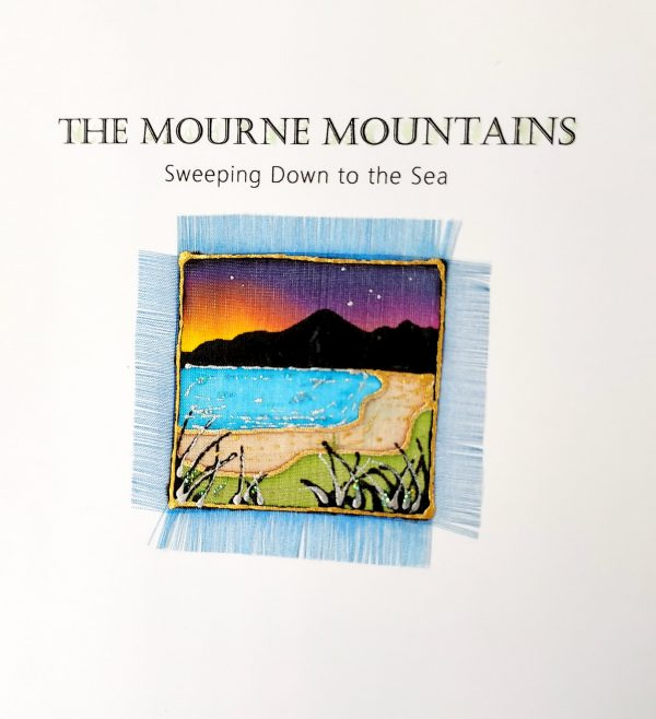 Detail of hand painted silk Mourne Mountains card