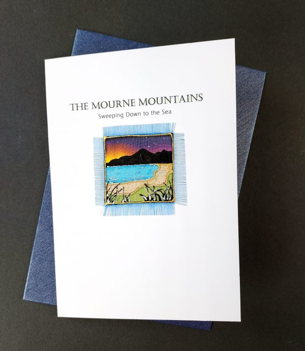 Greetings card with hand painted silk mourne mountains detail