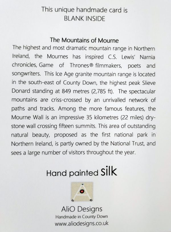 Back of greetings card with text about Mourne Mountains
