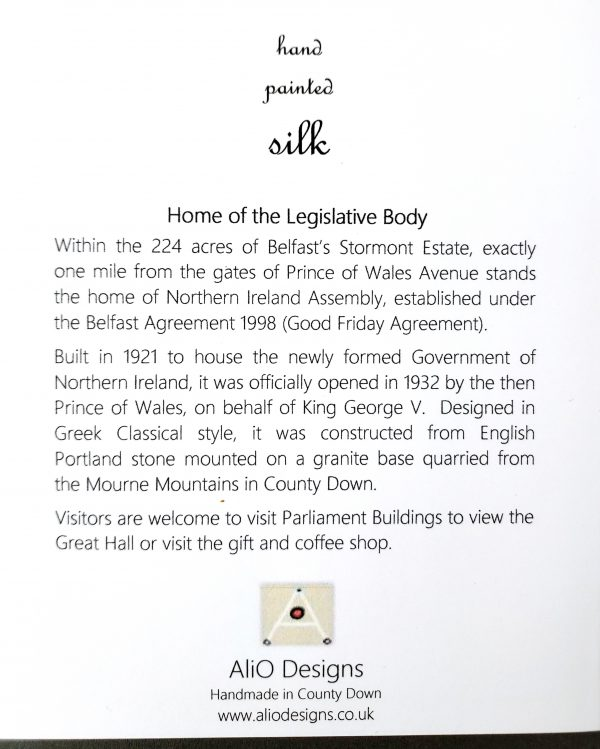 Text on back of greetings card about Stormont