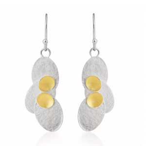 Silver drop earrings with 22ct gold detail
