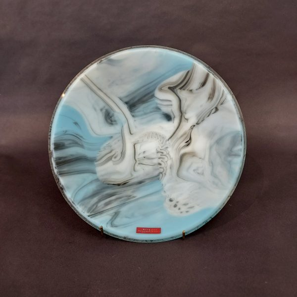 Round blue glass plate