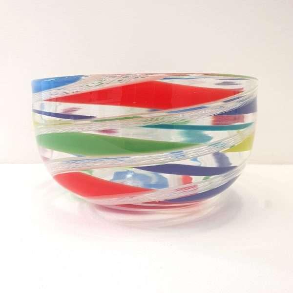 Multi coloured glass bowl