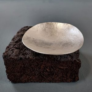 Silver bowl on peat base