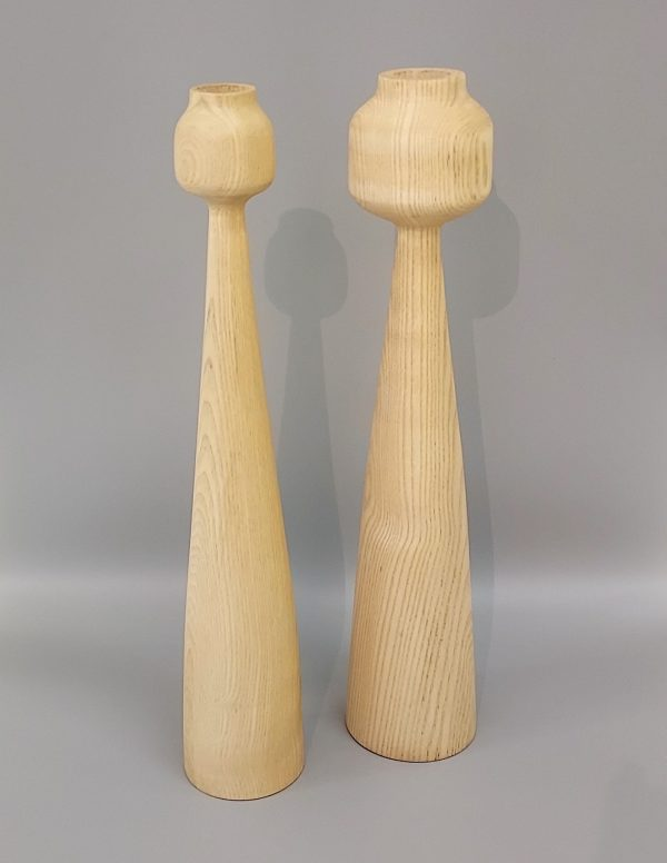 Set of two wooden candle holders in ash wood