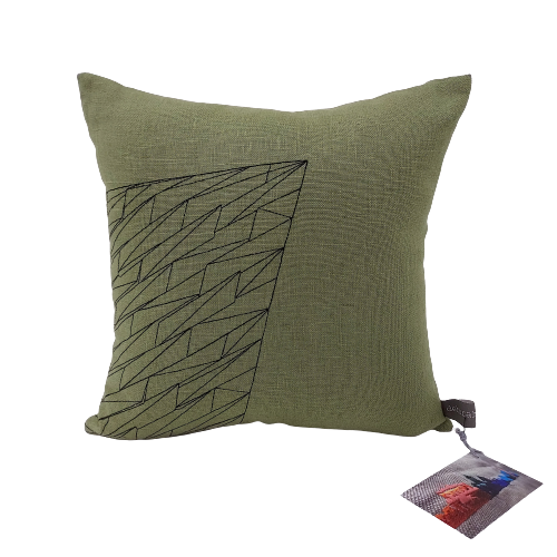 Green cushion with Titanic Belfast Building embroidered