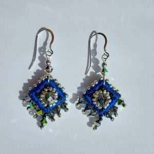 Blue embroidered drop earrings