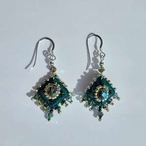 Green embroidered drop earrings