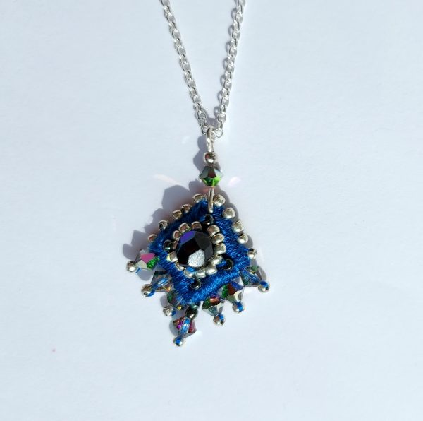 Blue Embroidered necklace on silver chain