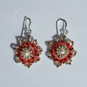 Coral embroidered drop earrings