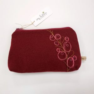 Red / pink embroidered textile pouch with zip