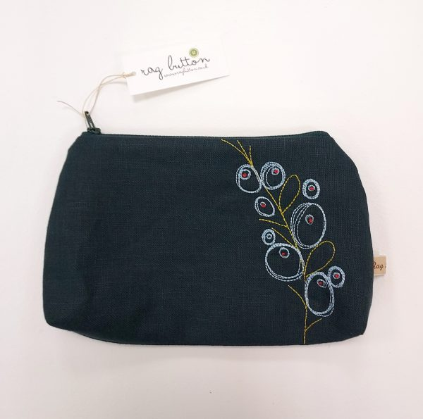 Dark green embroidered textile pouch with zip