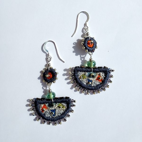 Large semi circular embroidered earrings slate coloured with silver fittings