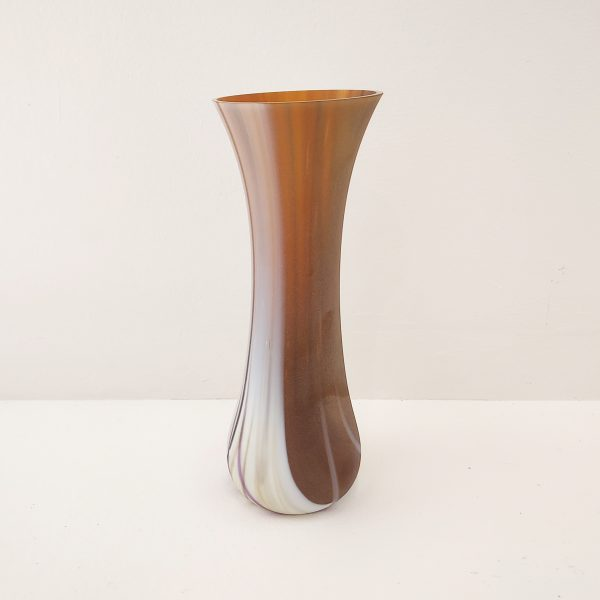 Brown and white glass vase