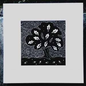 'Oak' square unframed mount, linocut on Irish linen by Gail Kelly.