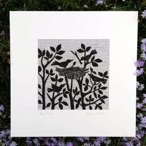 'Tree Tops' linocut on Irish linen