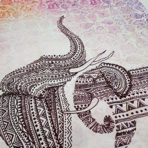 Detail of Cotton tea towel with elephant illustrations