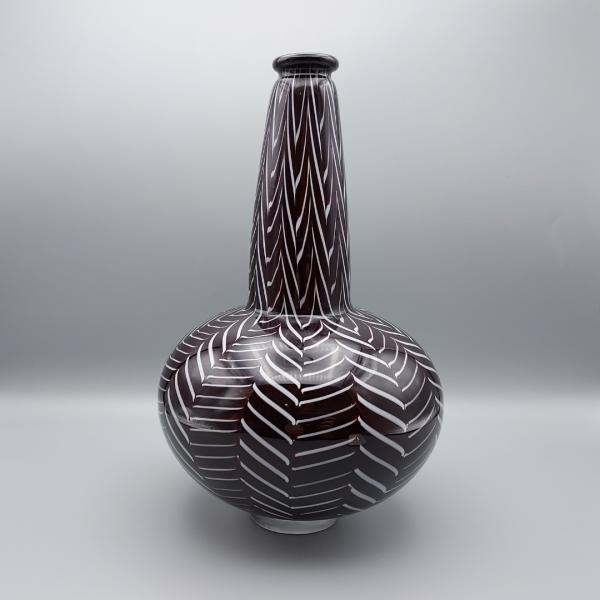 Black and white herringbone glass vase