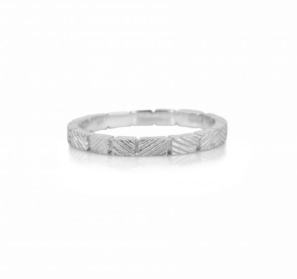 Engraved silver ring band