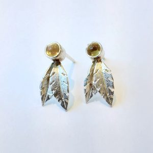 Silver leaf studs with citrine