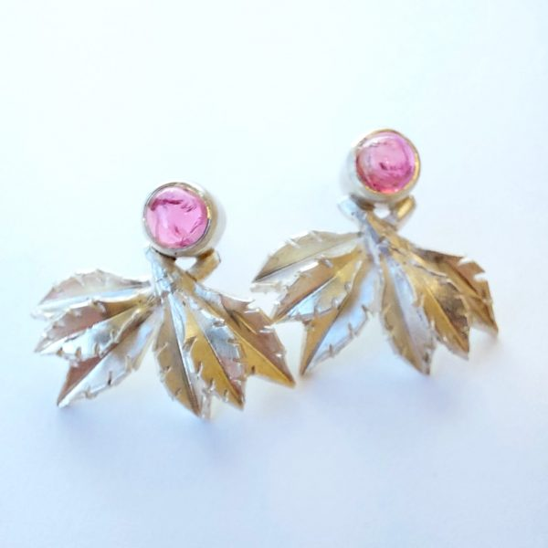 Silver leaf stud earrings with tourmaline