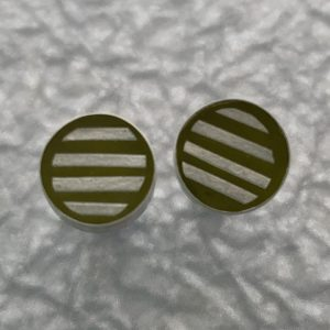 Silver Line Earrings with ochre Japanese Paper by Carla Pennie McBride