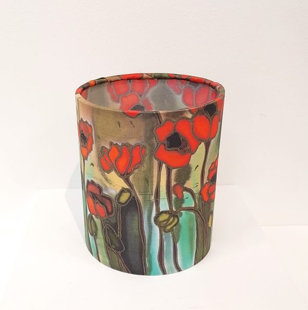 Textile night light with poppie printed design
