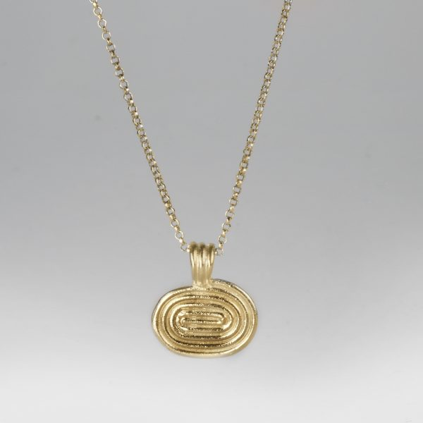 Gold spiral pendant on chain