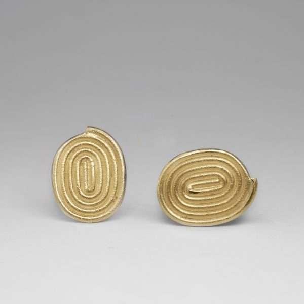 Gold spiral stud earrings