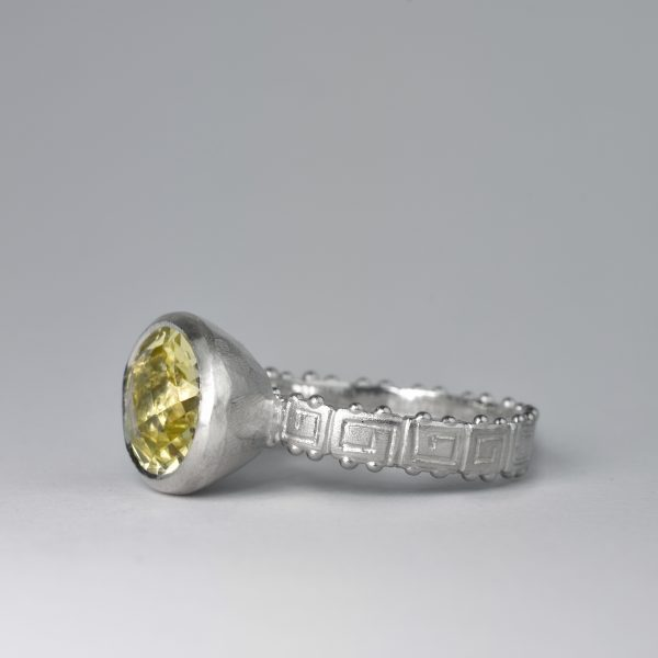 Silver ring with oval lemon citrine