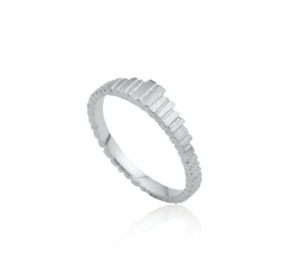 Tapered textured silver ring