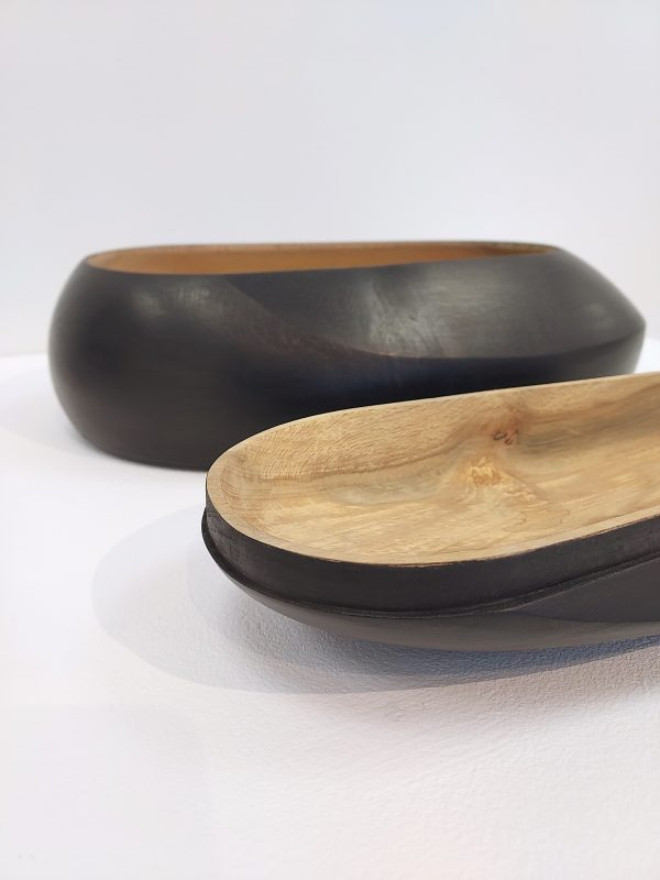 Detail of ebonised ash box with lid