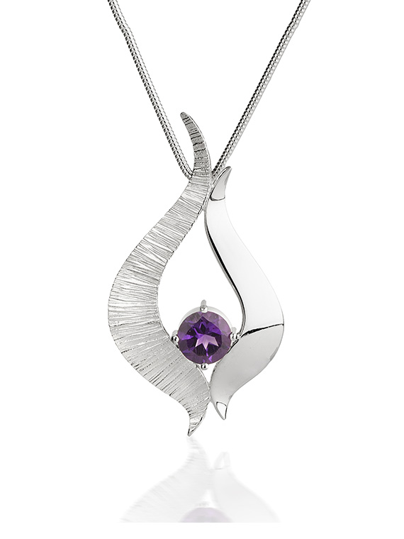 Silver wave pendant set with amethyst stone on silver snake chain