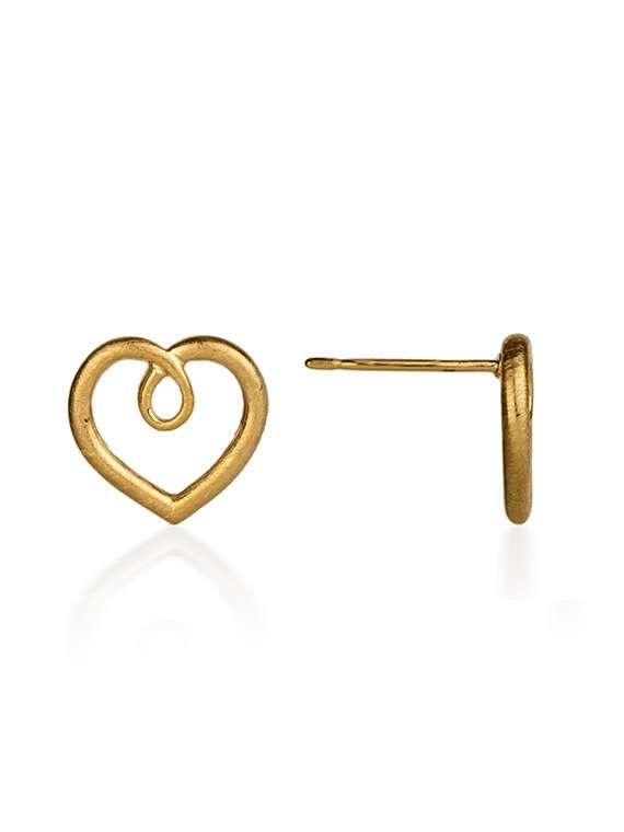 Gold plated heart stud earrings