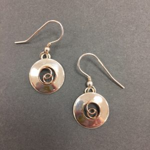 Silver and 9ct Rose Gold Earrings by Nora Watson